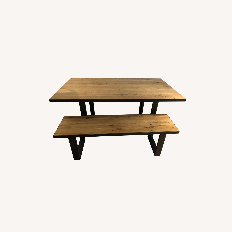 Strange West Elm Modern Wood Metal Dining Table W 1 Bench Aptdeco Cjindustries Chair Design For Home Cjindustriesco