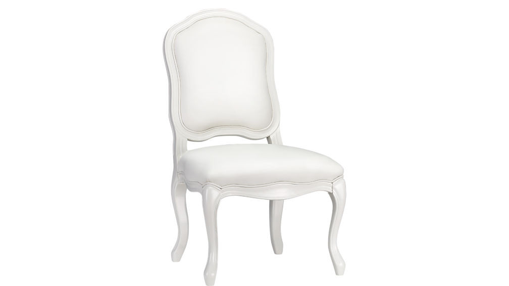 CB2 White Leather Dining Chairs