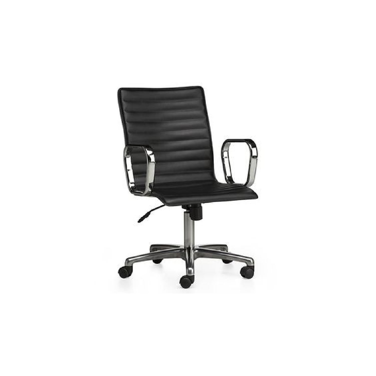 Crate Barrel Black Leather Office Chair Aptdeco