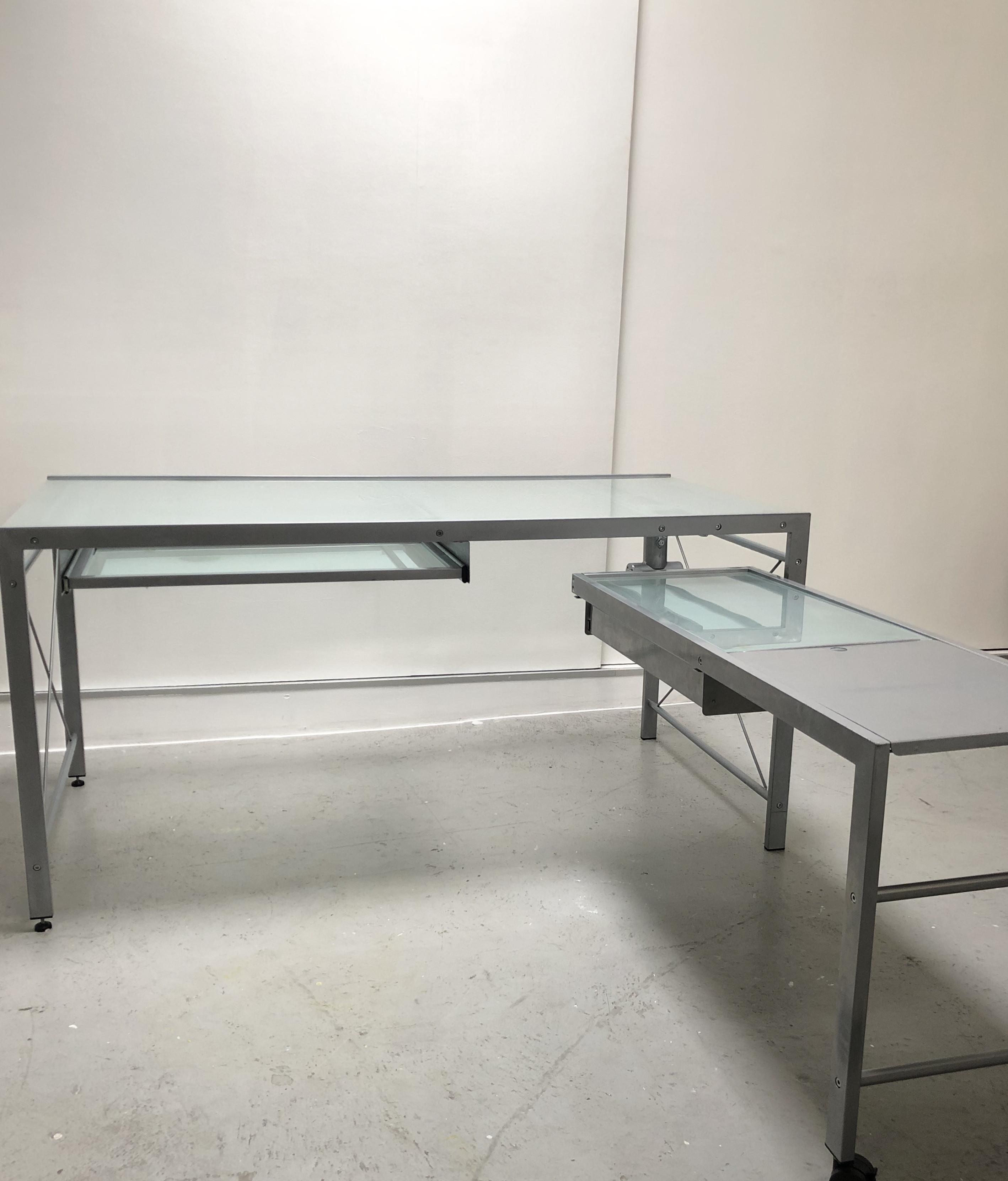 CB2 Glass Top Metal Modular Desk
