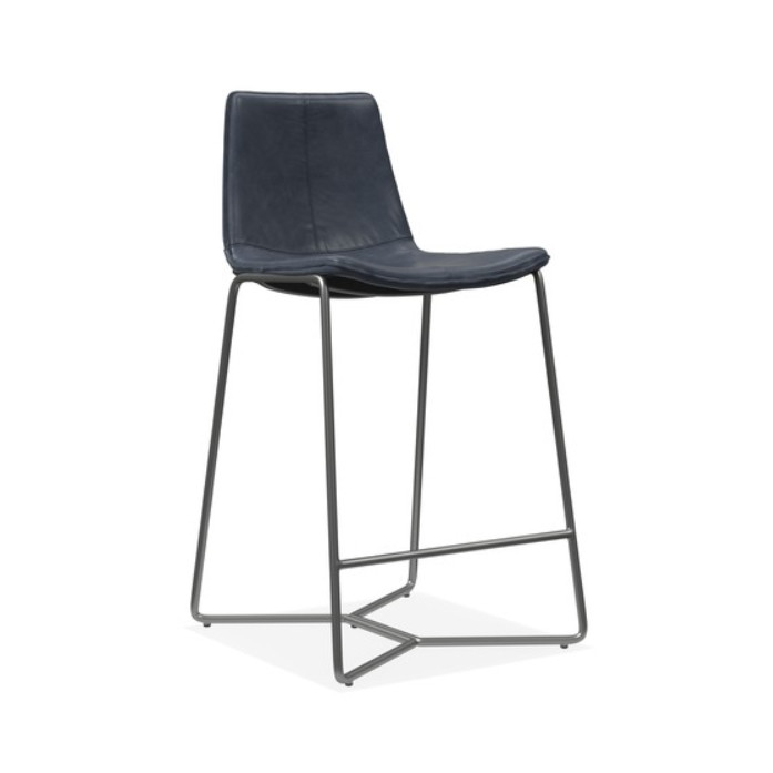 West Elm Slope Leather Counter Stools