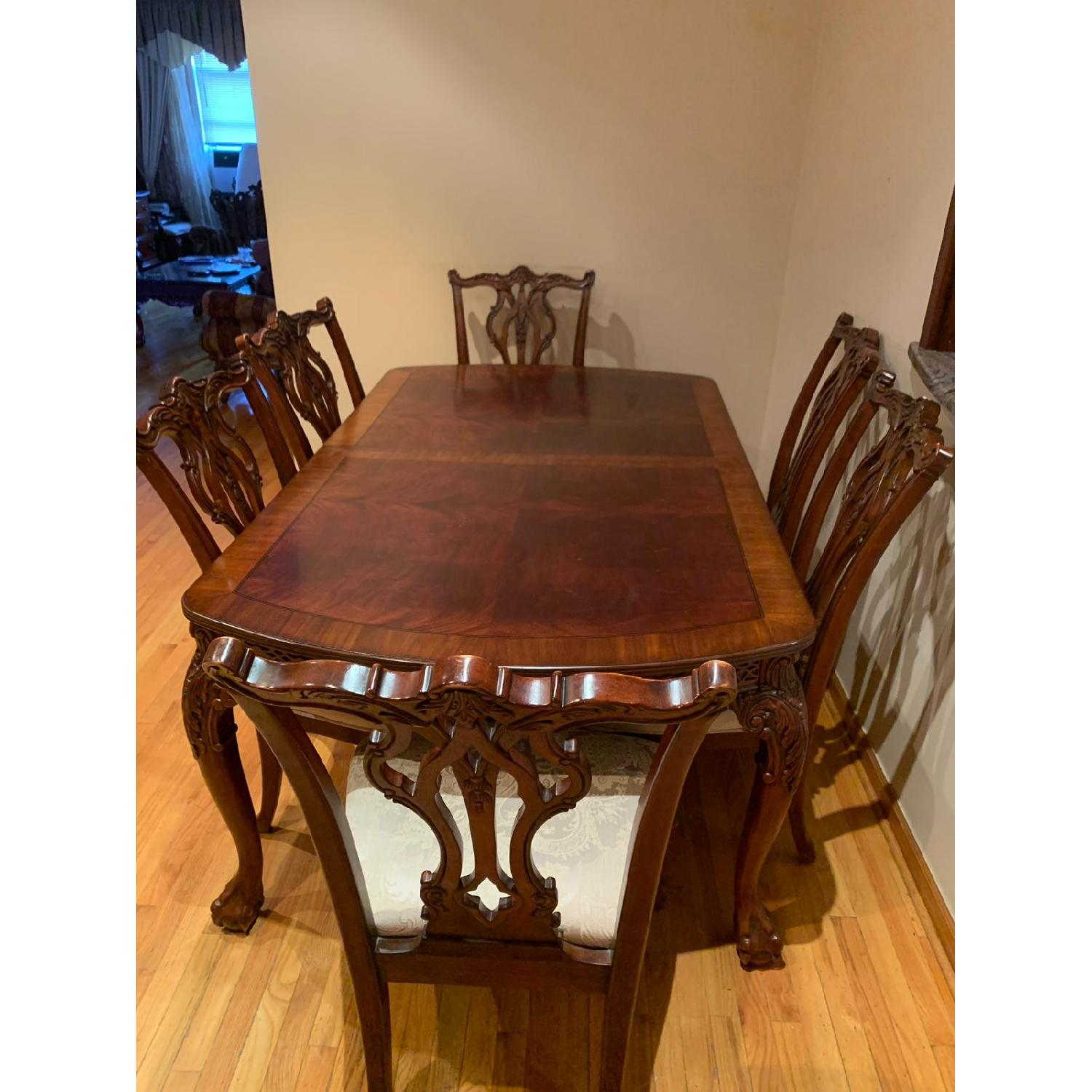 Traditional Wood Dining Table w/ 8 Chairs - image-1