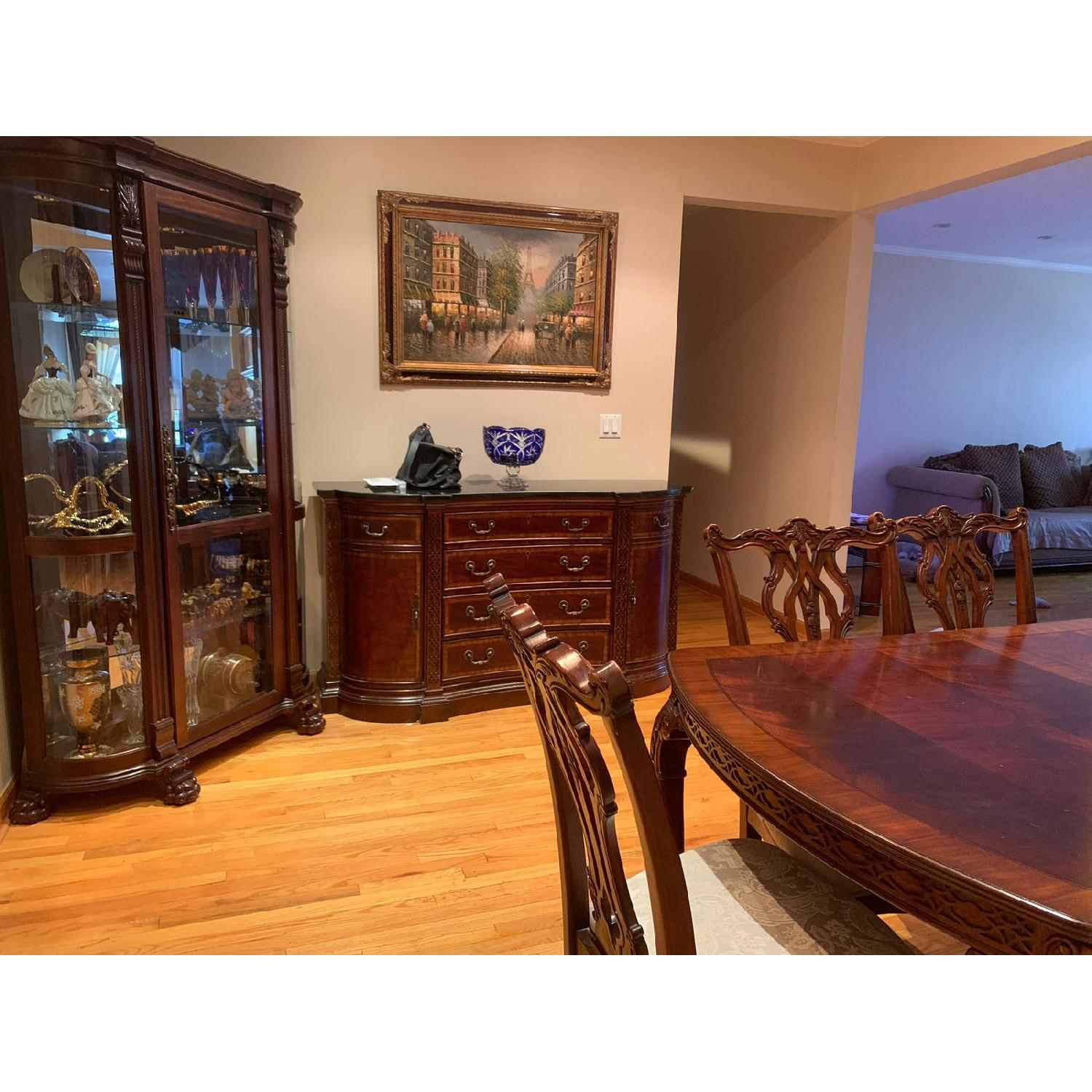 Traditional Wood Dining Table w/ 8 Chairs - image-4