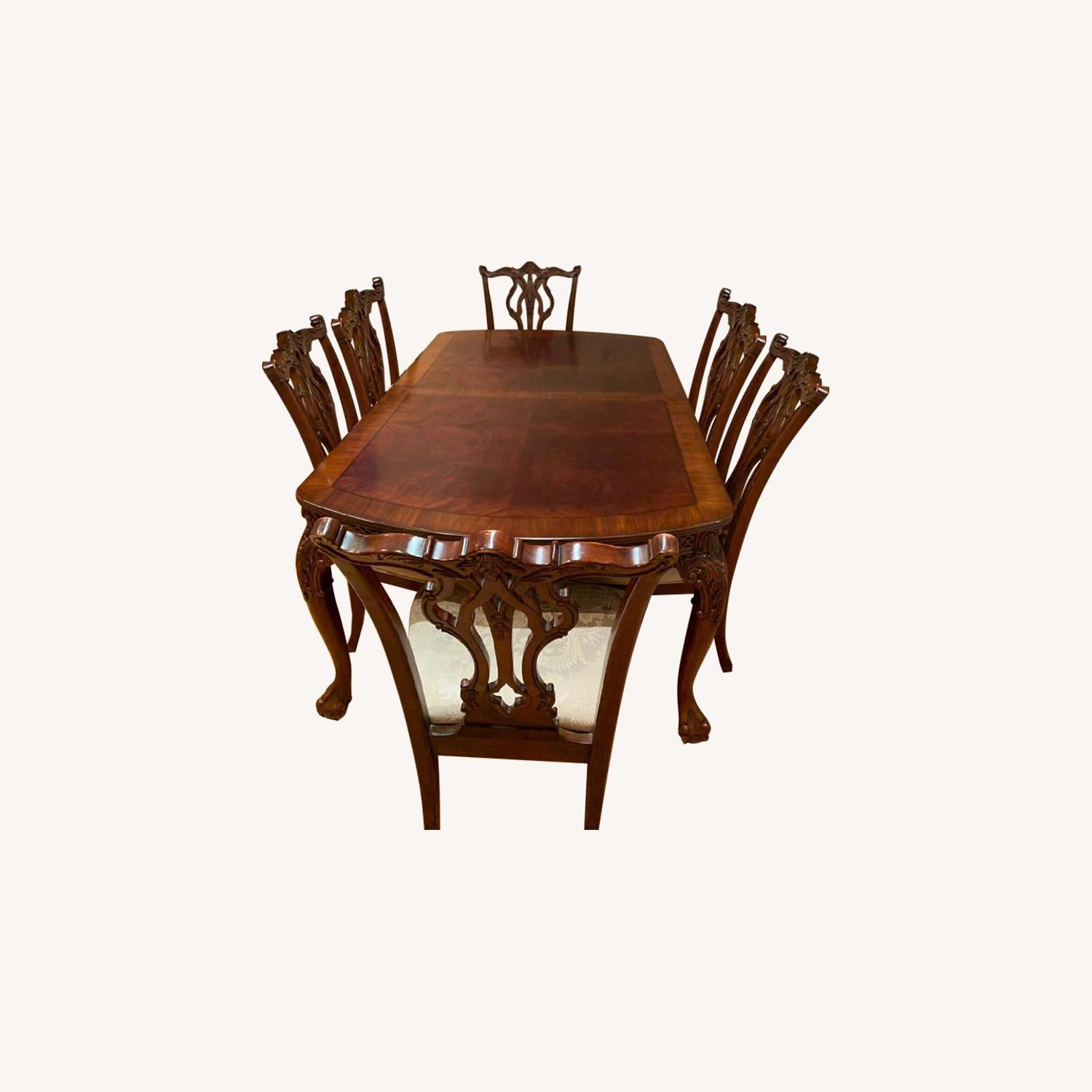 Traditional Wood Dining Table w/ 8 Chairs - image-0