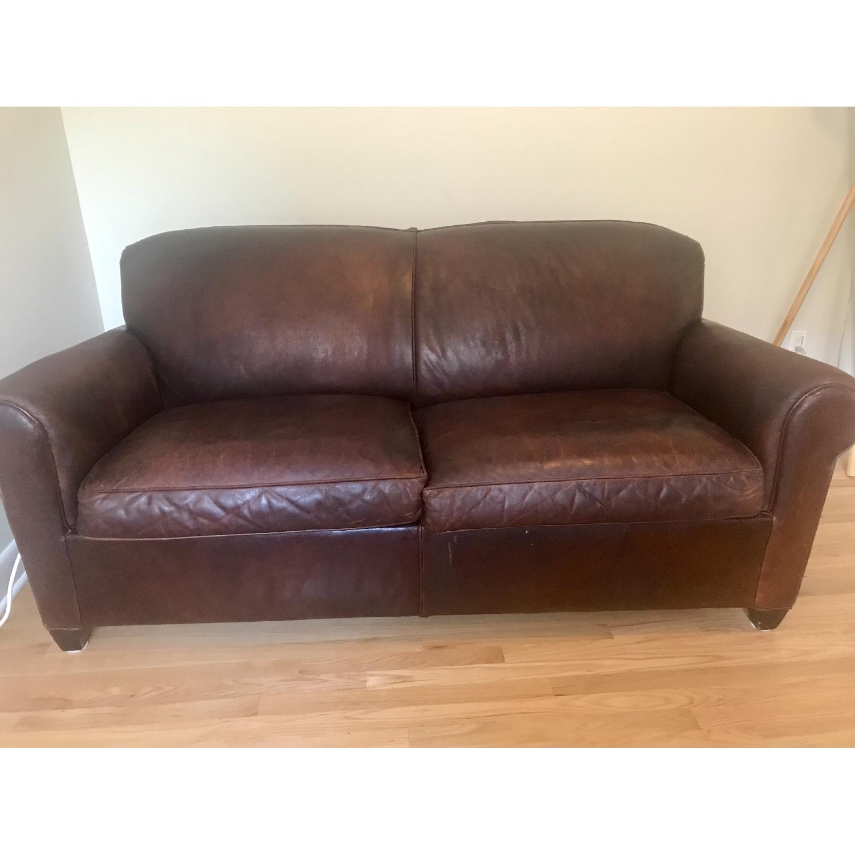 Crate & Barrel Brown Leather Sleeper Sofa - image-1