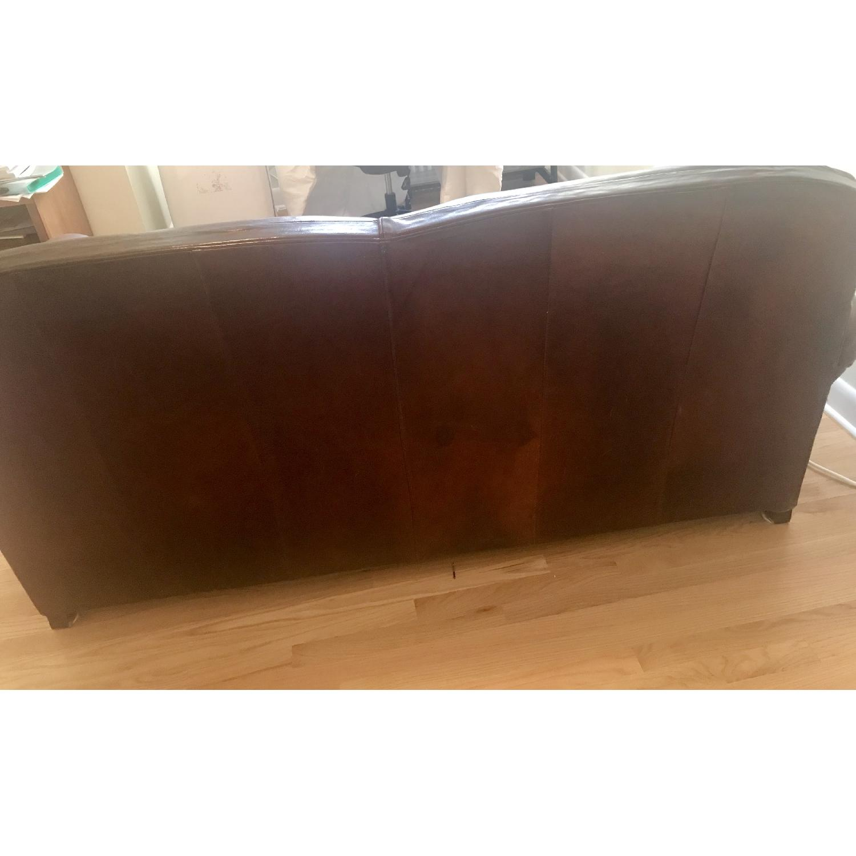Crate & Barrel Brown Leather Sleeper Sofa - image-4