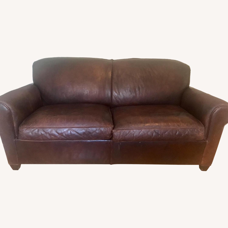 Crate & Barrel Brown Leather Sleeper Sofa - image-0
