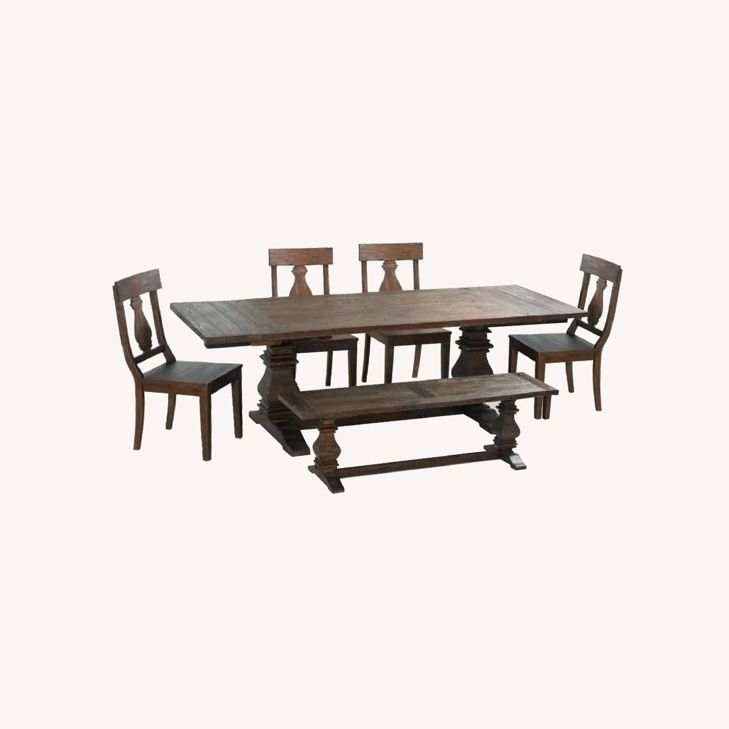Tristan Wood Dining Table w/ 1 Bench & 4 Chairs - image-0