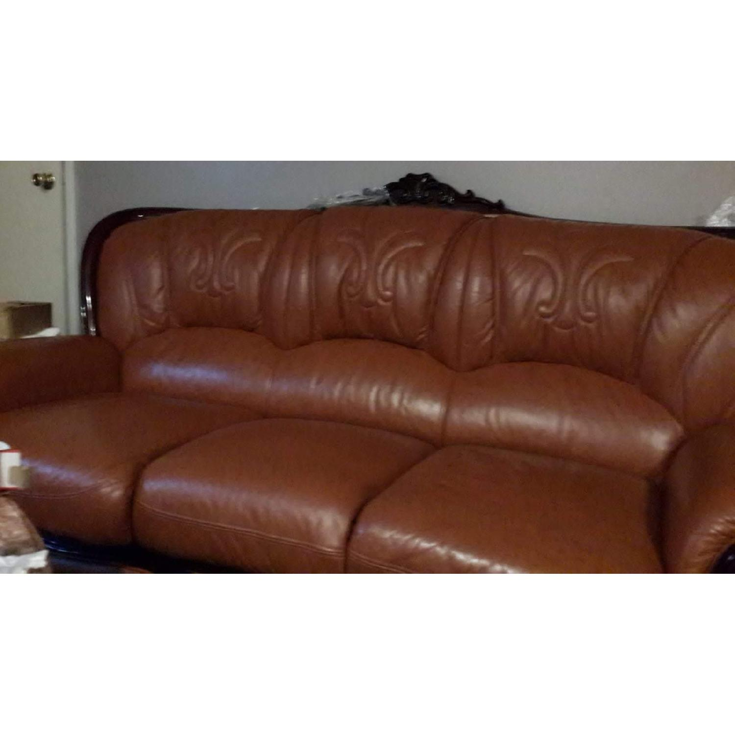 Leather Upholstered 3 Seater Sofa - image-1