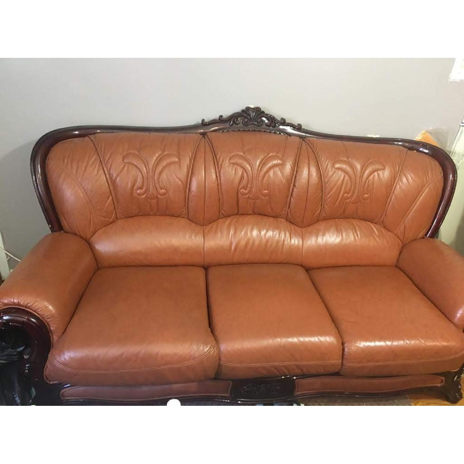 Leather Upholstered 3 Seater Sofa - image-3