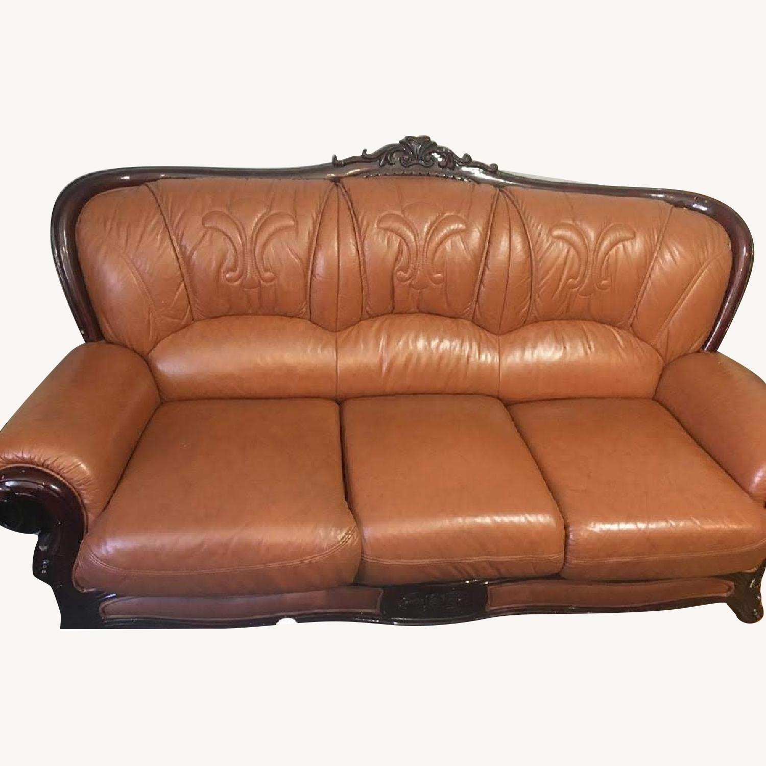 Leather Upholstered 3 Seater Sofa - image-0