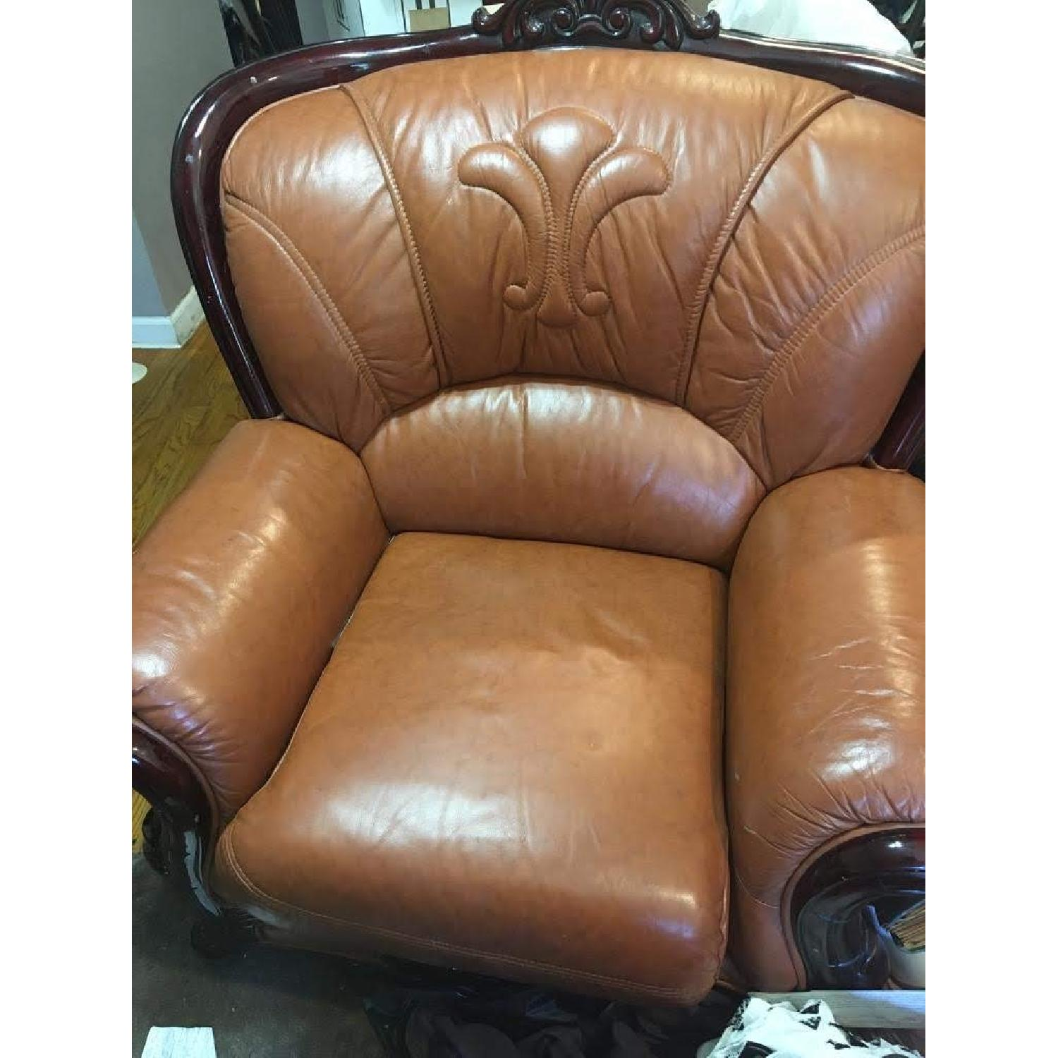 Leather Upholstered Armchair - image-0