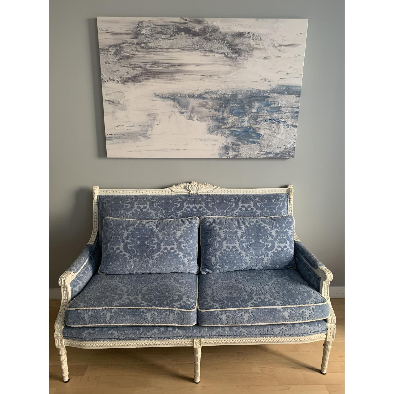 Neiman Marcus Louis XV Style Sofa in White Wood/Blue Velvet - image-2
