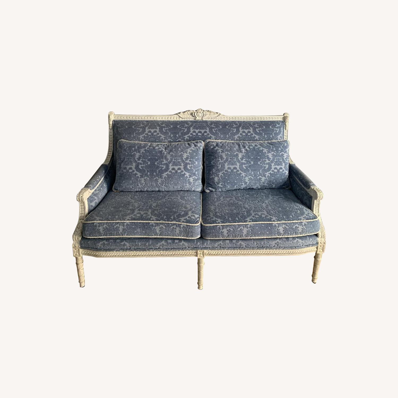 Neiman Marcus Louis XV Style Sofa in White Wood/Blue Velvet - image-0