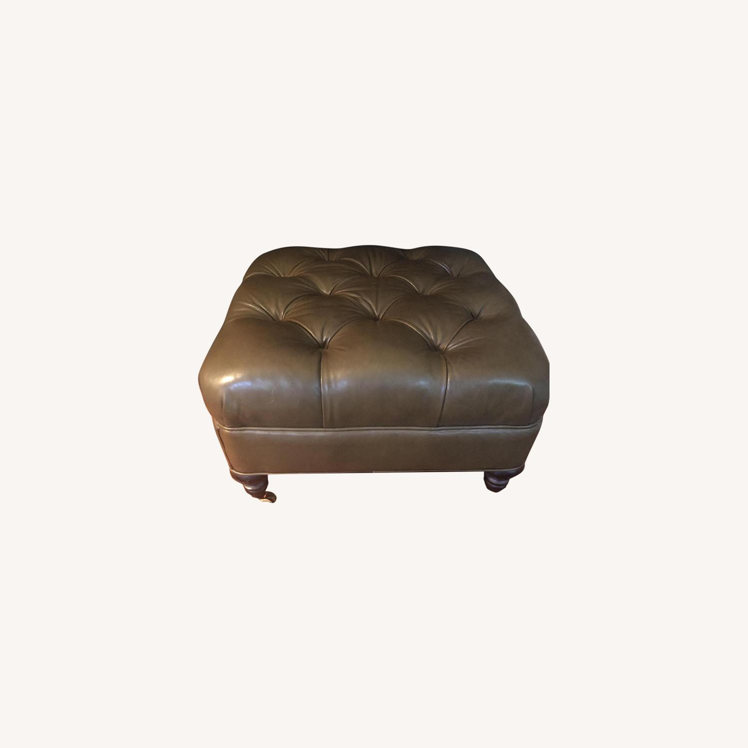Olive Green Leather Tufted Ottoman - image-0