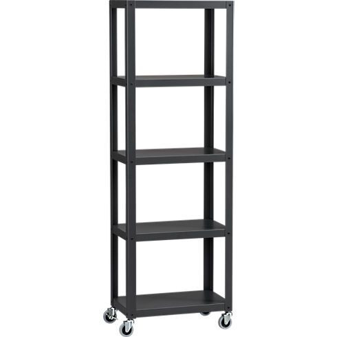 CB2 Industrial Metal 5-Shelf Rolling Bookcases