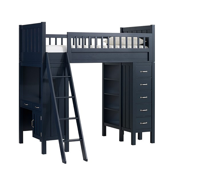 Pottery Barn Navy Camp Loft Bed w/ Desk, Drawers & Shelves