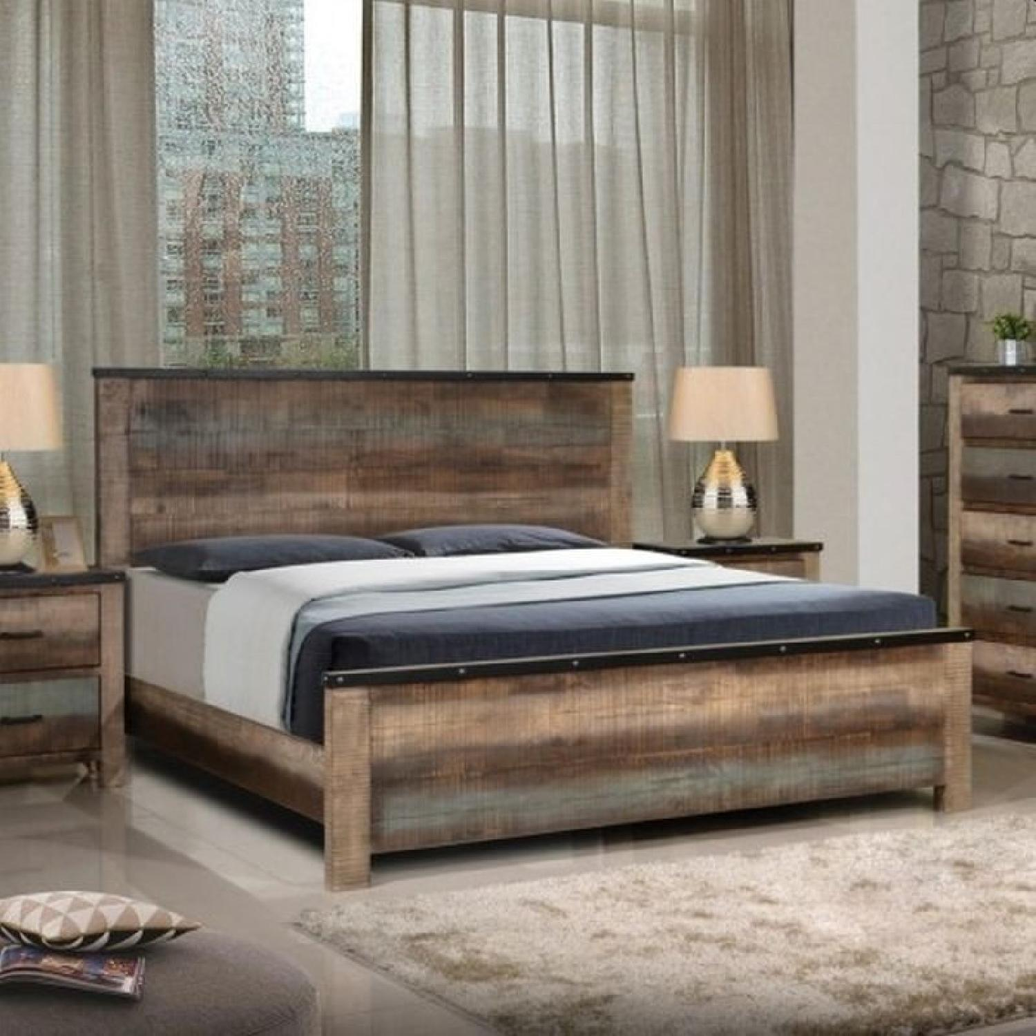 Rustic Style Queen Size Bed in Solid Wood Multi-Tonal Finish - image-1