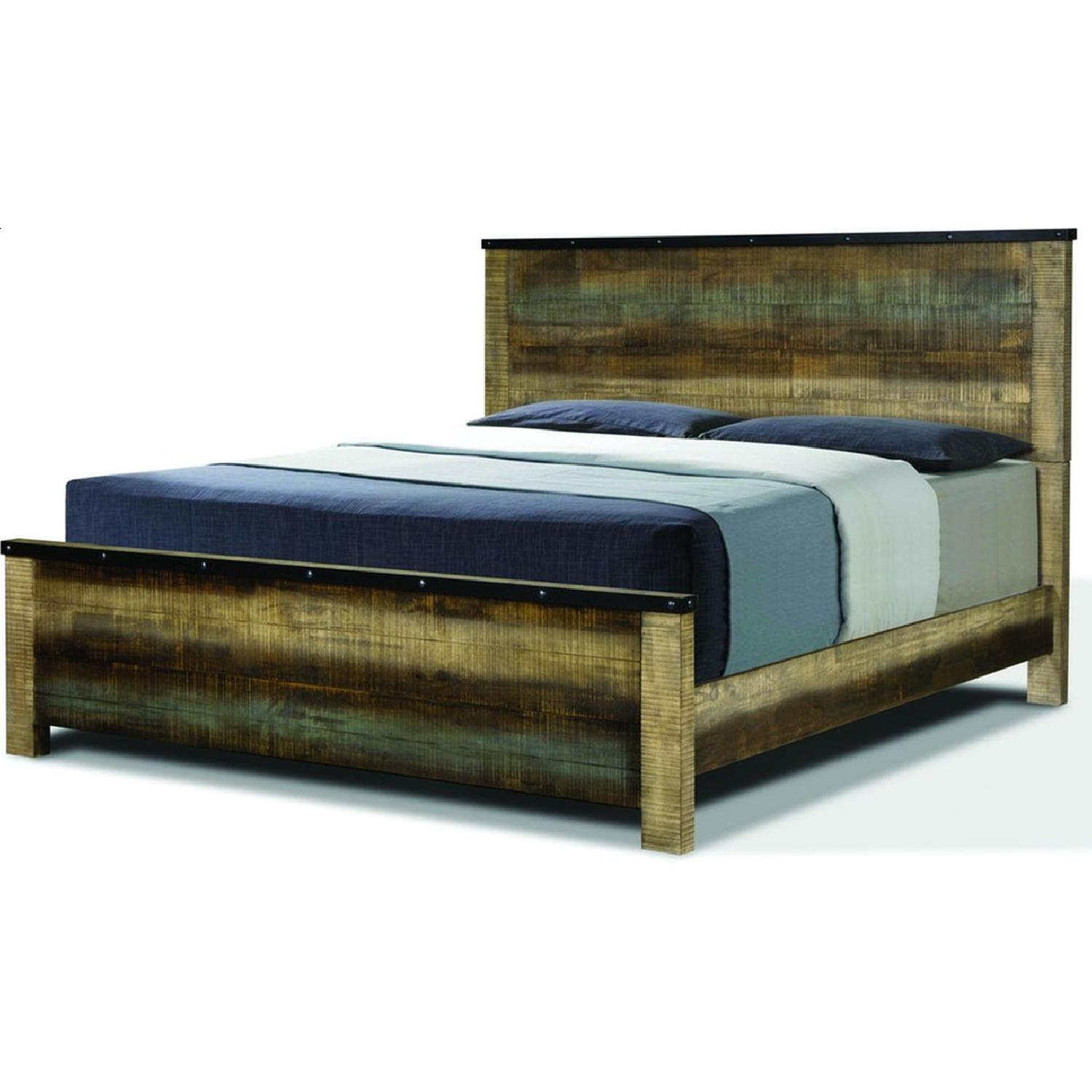 Rustic Style Queen Size Bed in Solid Wood Multi-Tonal Finish - image-2