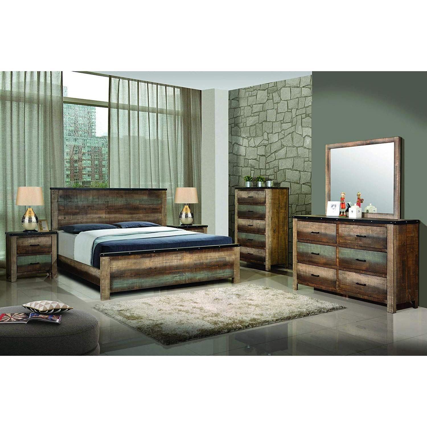 Rustic Style Queen Size Bed in Solid Wood Multi-Tonal Finish - image-3