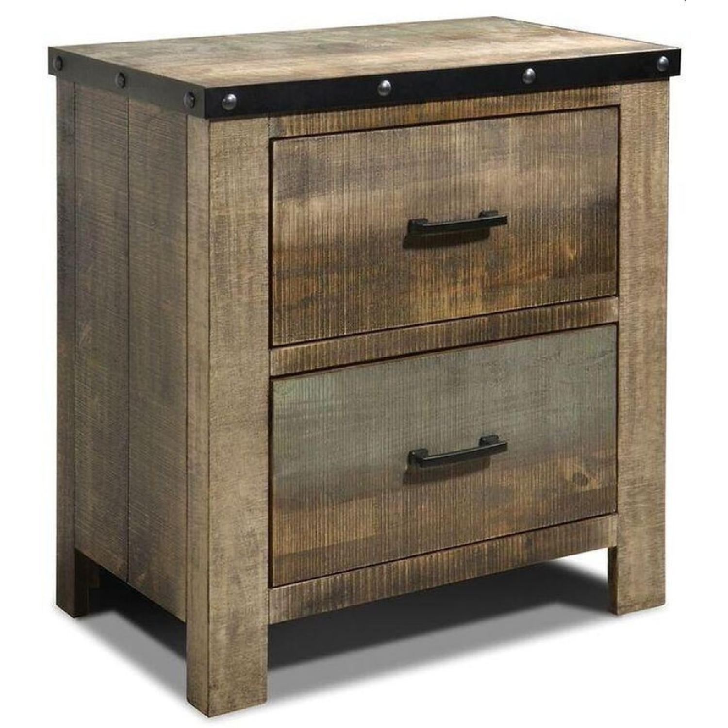 Rustic Style Nightstand in Solid Wood Multi-Tonal Finish - image-0
