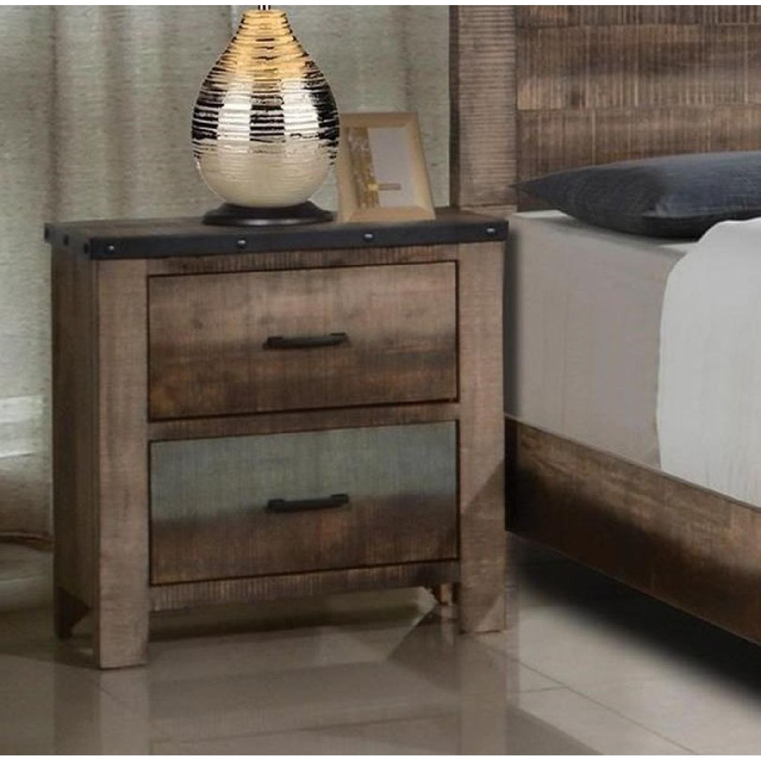 Rustic Style Nightstand in Solid Wood Multi-Tonal Finish - image-1