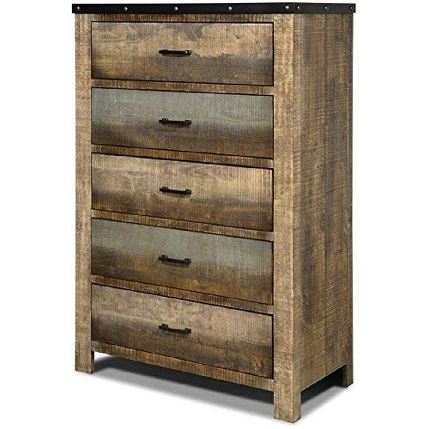 Rustic Style Chest in Solid Wood Multi-Tonal Finish - image-3