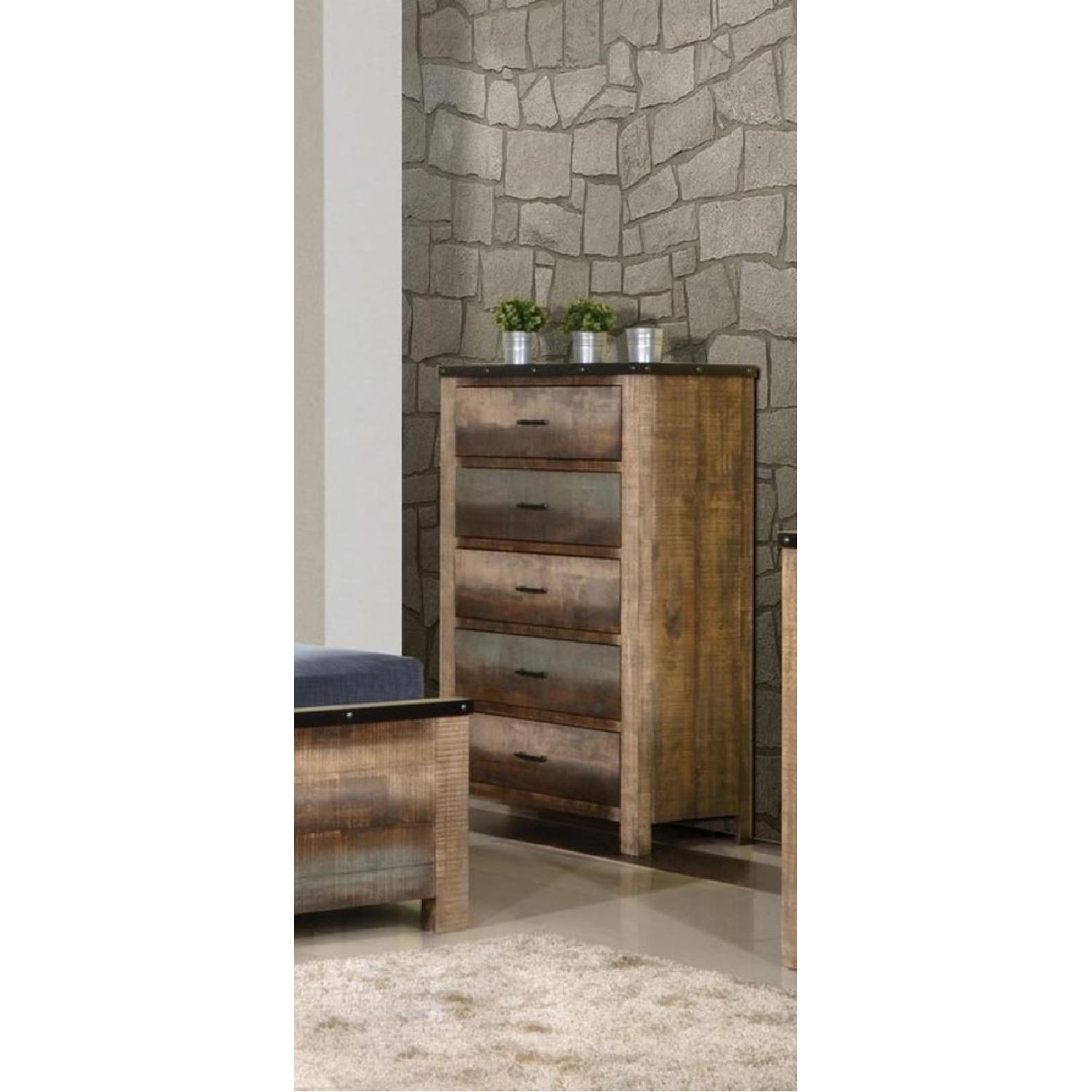Rustic Style Chest in Solid Wood Multi-Tonal Finish - image-2