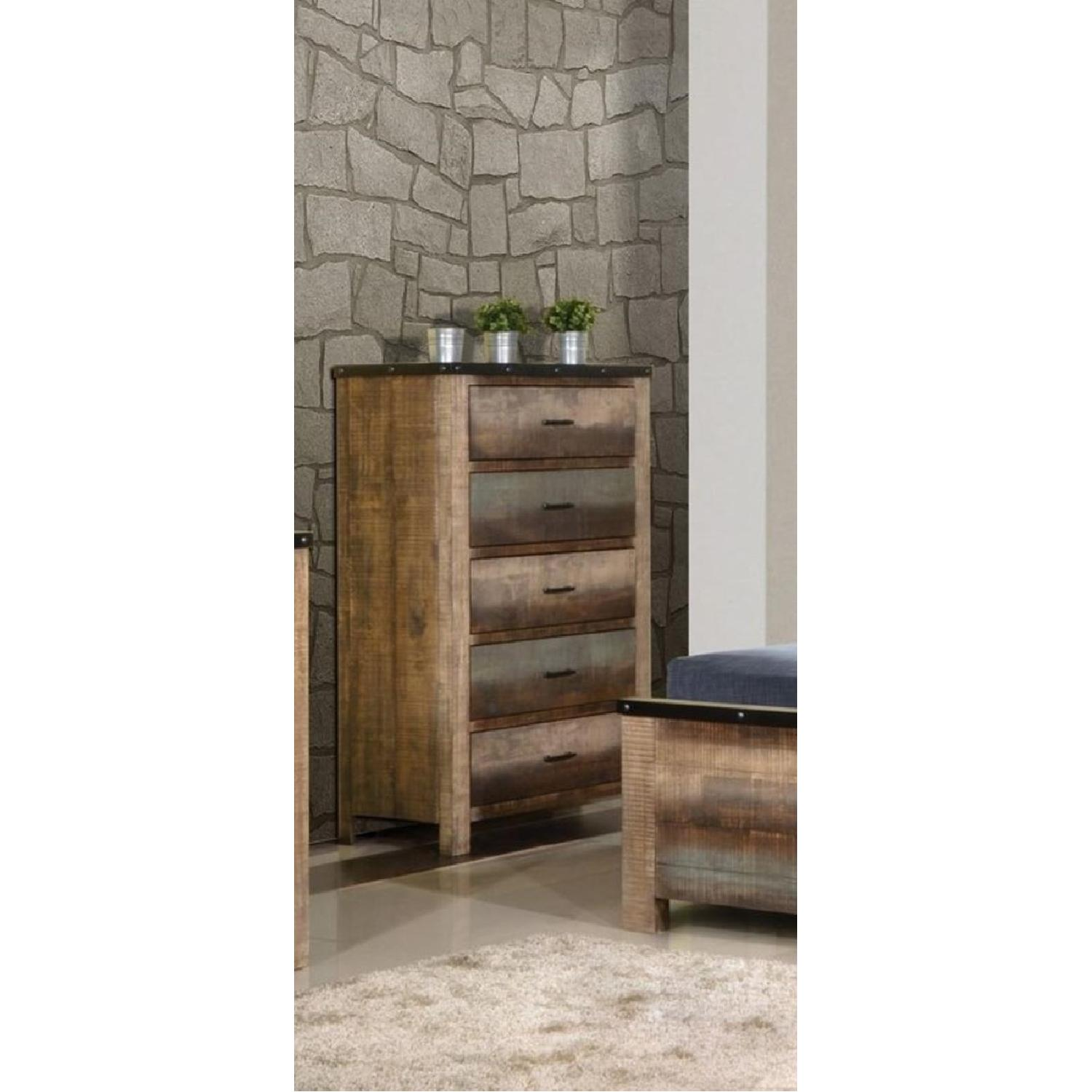Rustic Style Chest in Solid Wood Multi-Tonal Finish - image-1