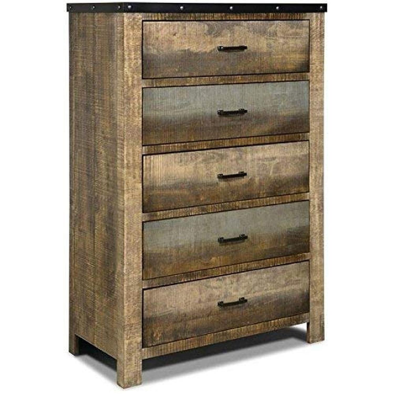 Rustic Style Chest in Solid Wood Multi-Tonal Finish - image-0