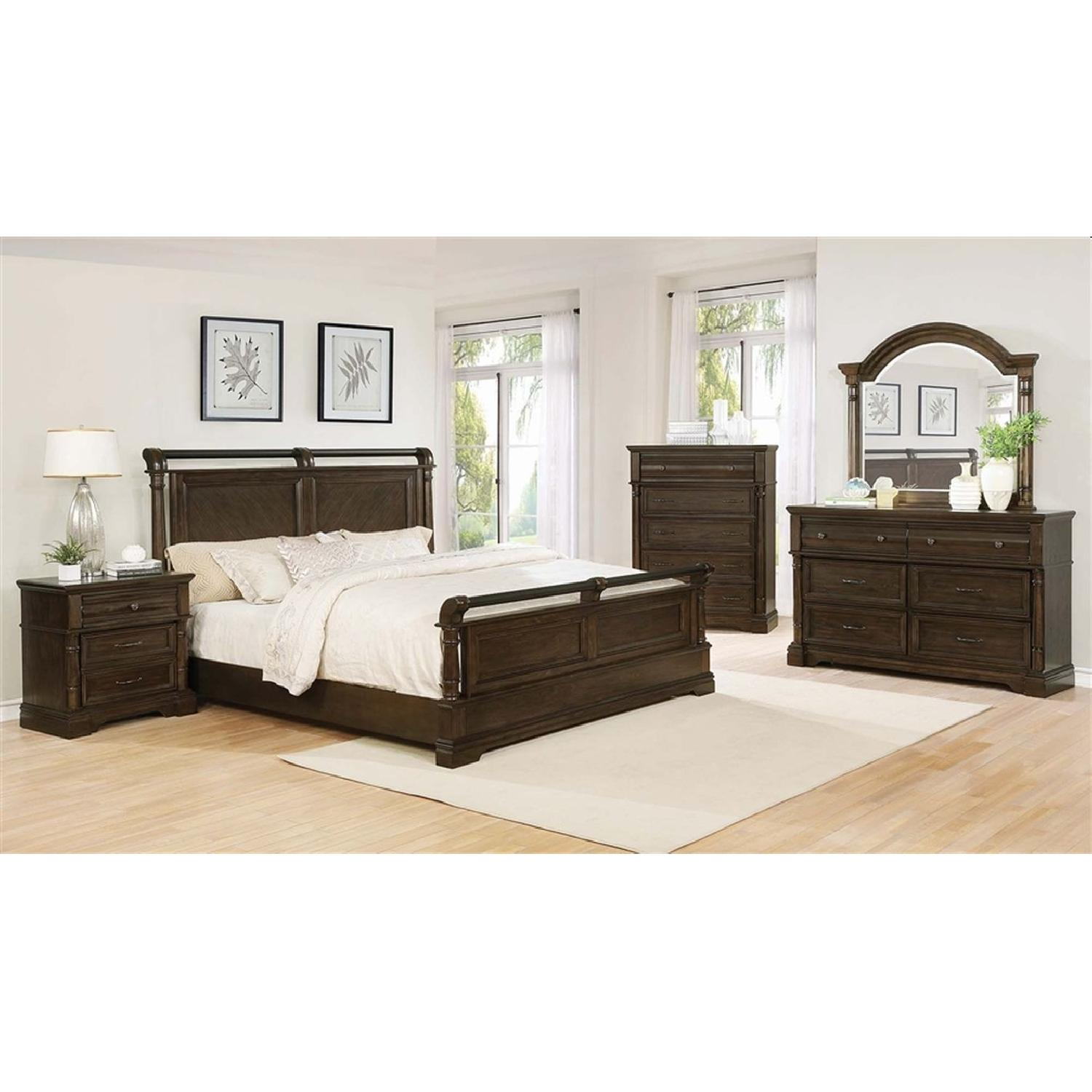 Classic Style Queen Bed in Heirloom Brown Wood Finish - image-1