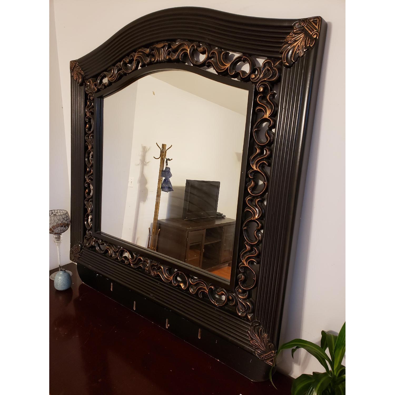 Vintage Mirror w/ Custom Wood Work - image-3