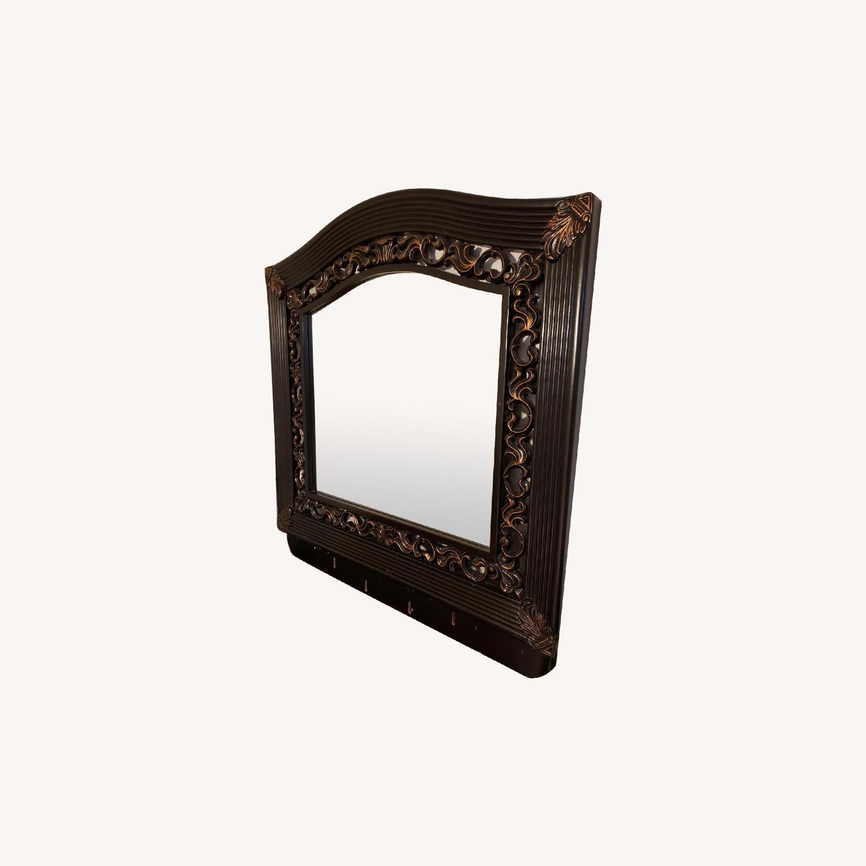 Vintage Mirror w/ Custom Wood Work - image-0