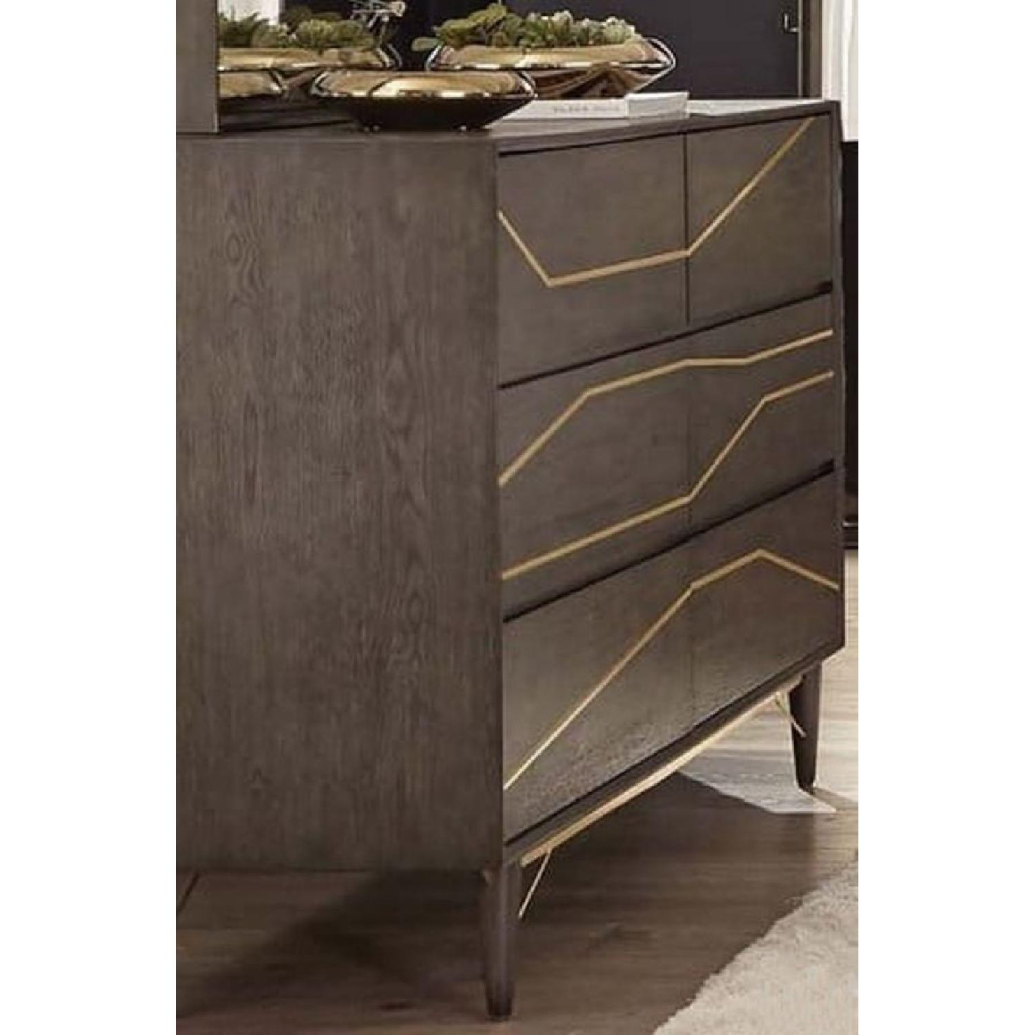 Modern Dresser in Graphite Finish w/ Gold Color Inlay - image-2