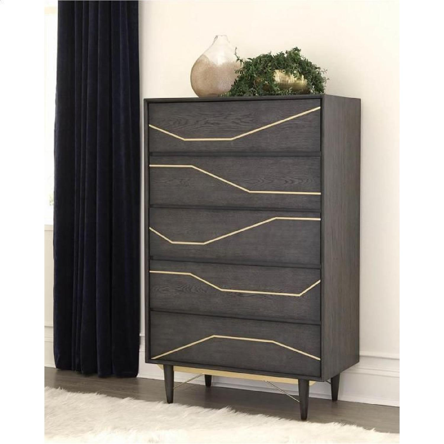 Modern Dresser in Graphite Finish w/ Gold Color Inlay - image-6