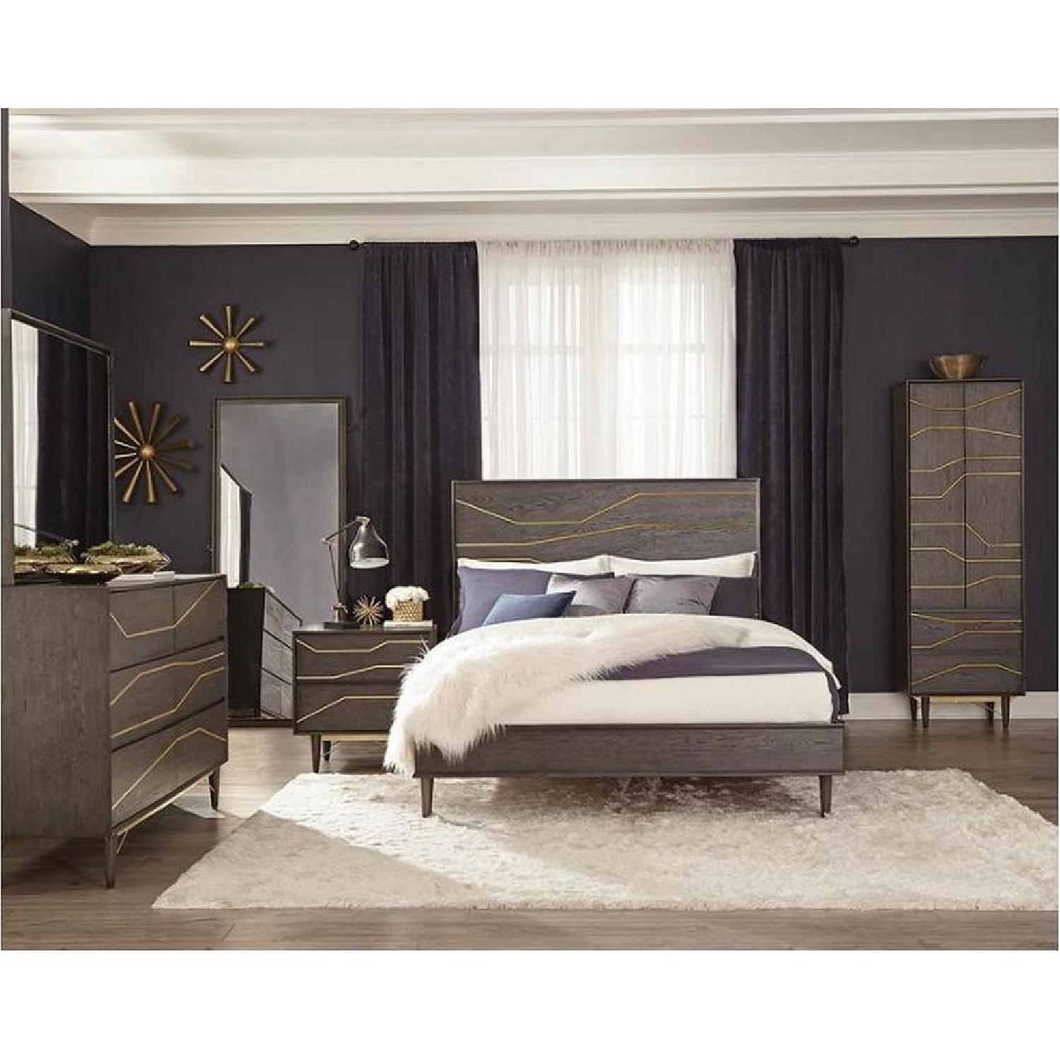 Modern Dresser in Graphite Finish w/ Gold Color Inlay - image-7
