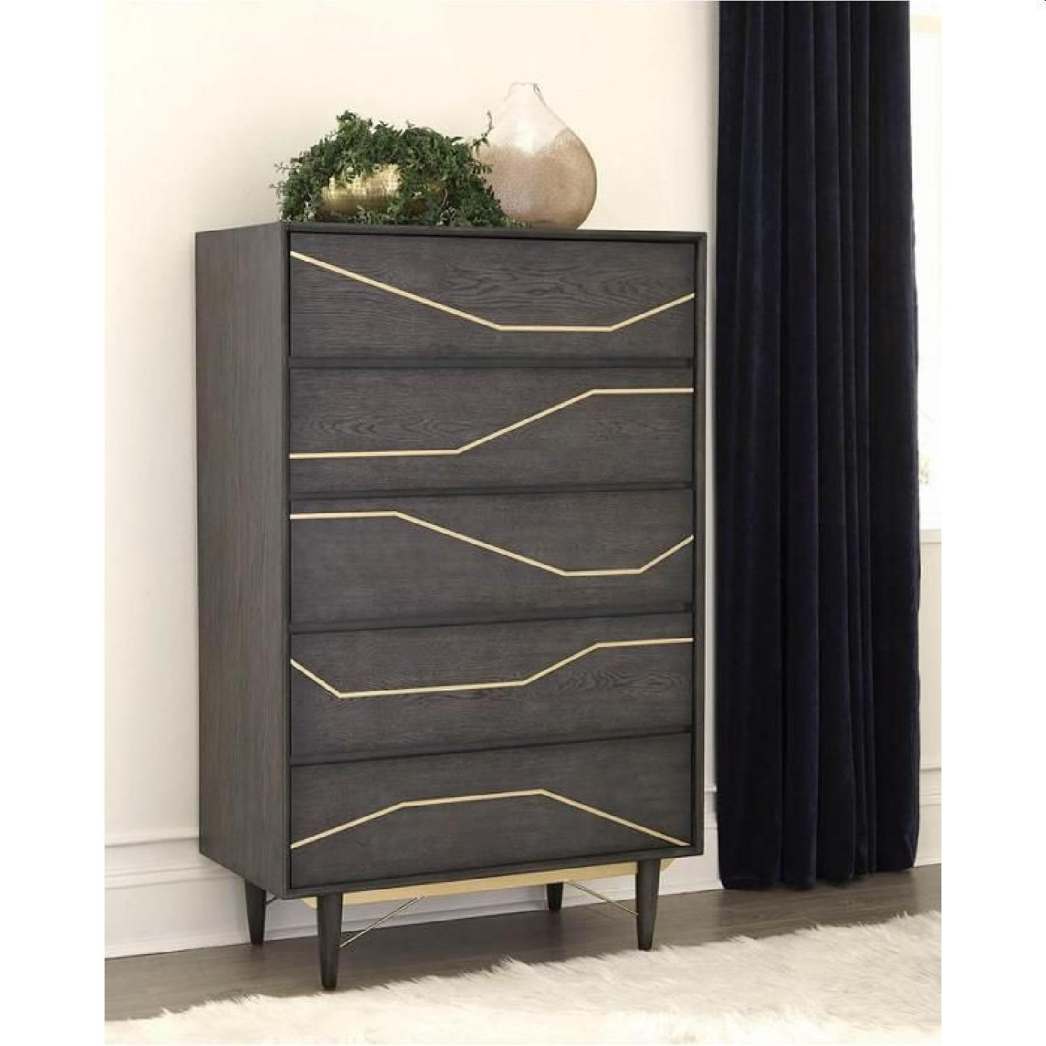 Modern Chest in Graphite Finish w/ Gold Color Inlay - image-2