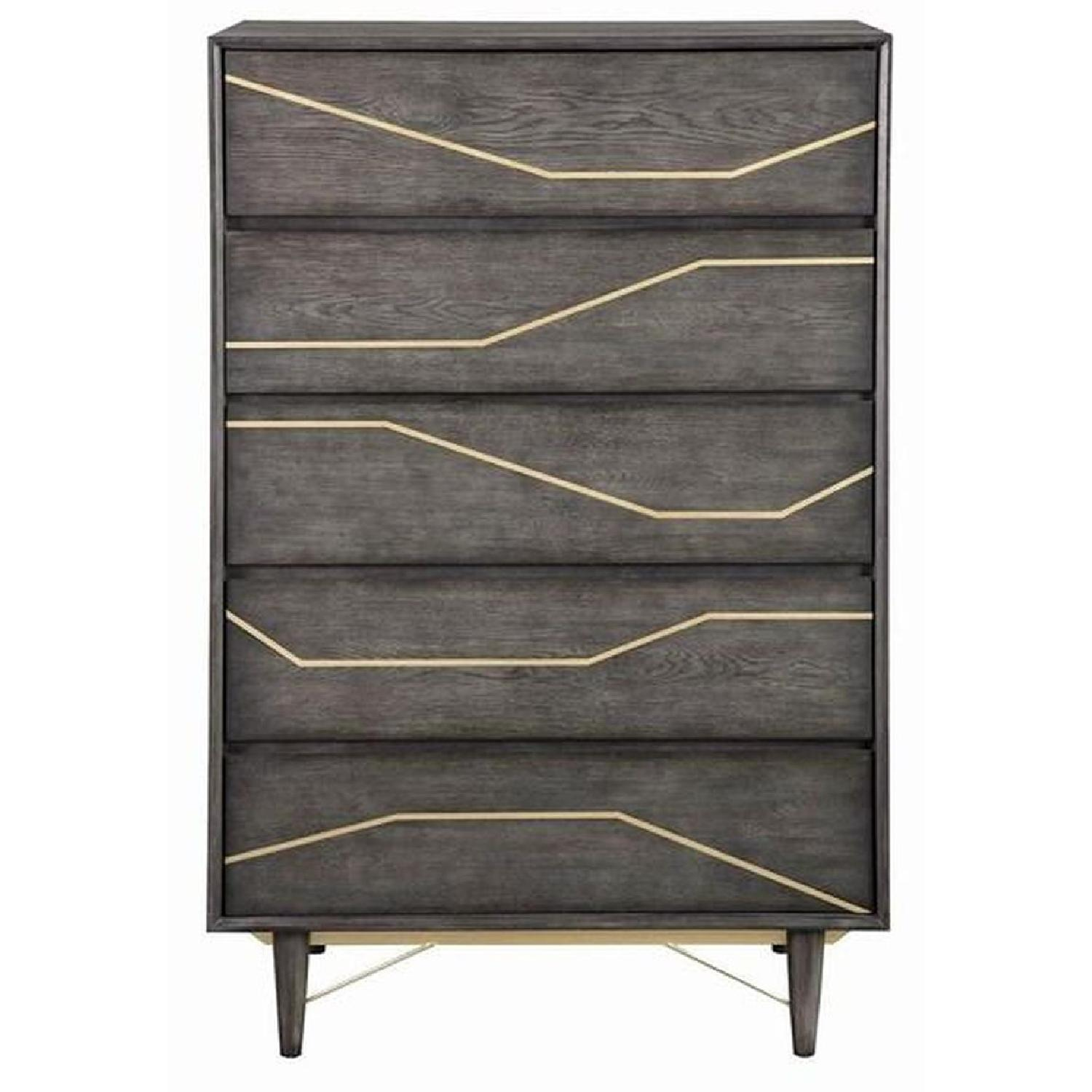 Modern Chest in Graphite Finish w/ Gold Color Inlay - image-0