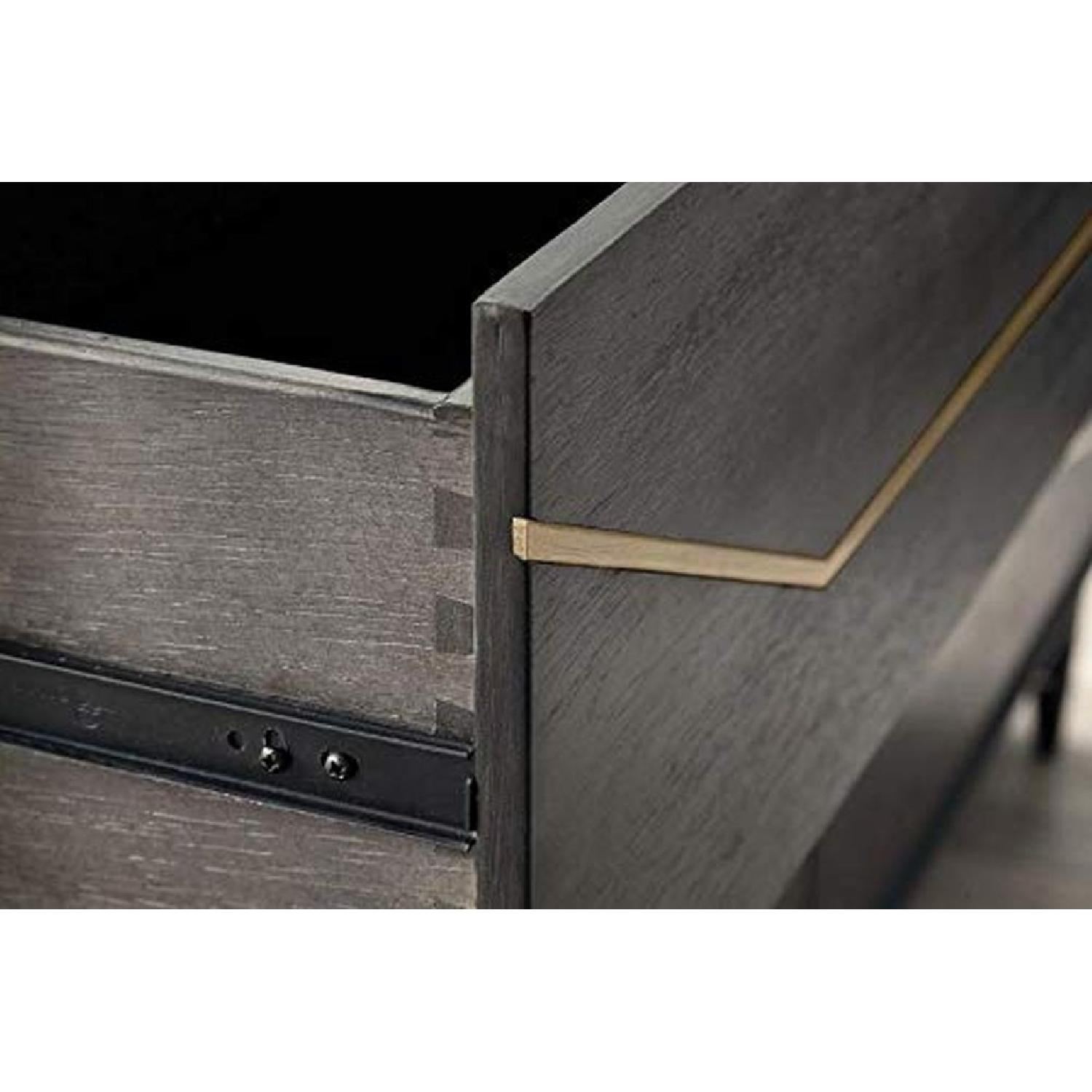 Modern Nightstand in Graphite Finish w/ Gold Color Inlay - image-1
