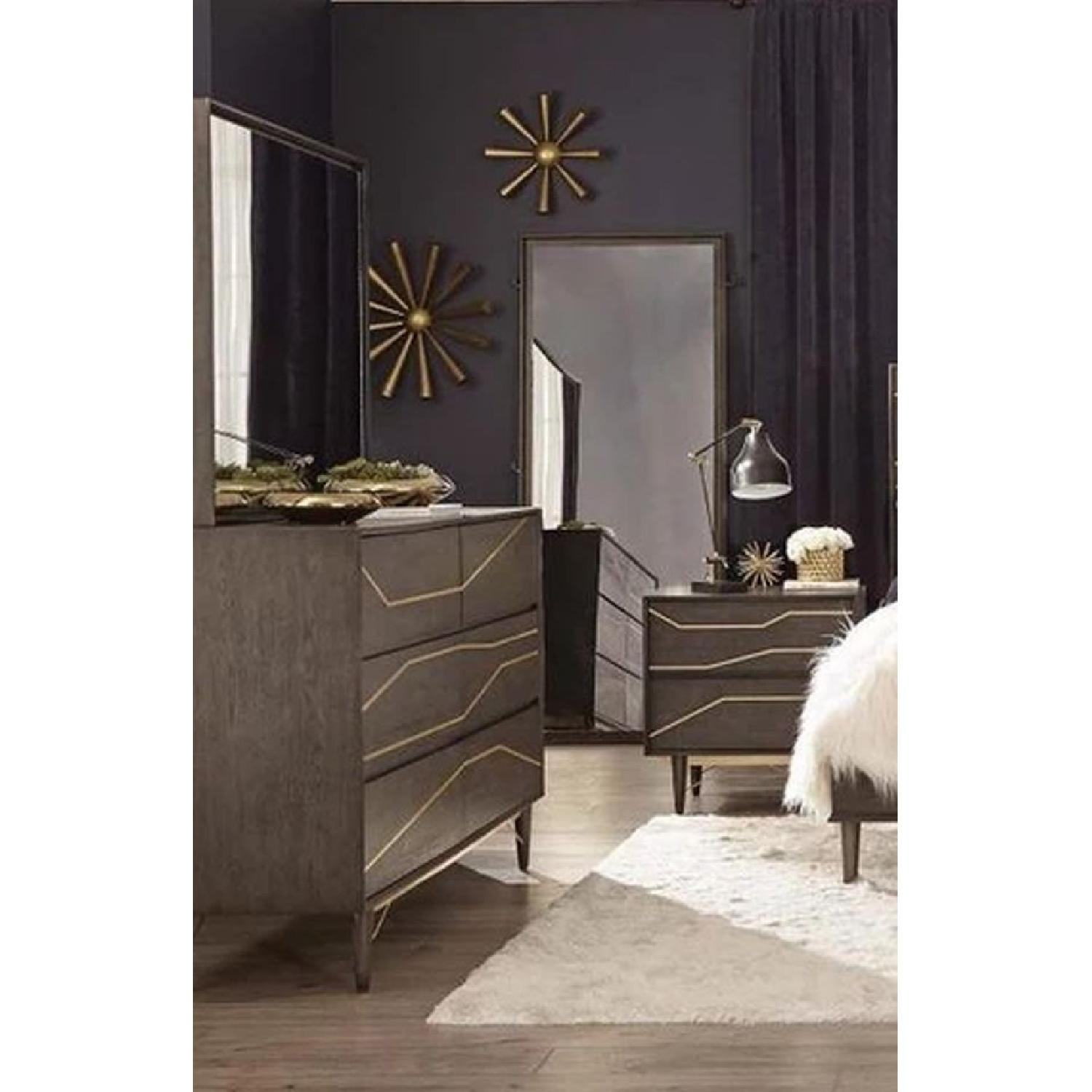 Modern Nightstand in Graphite Finish w/ Gold Color Inlay - image-2