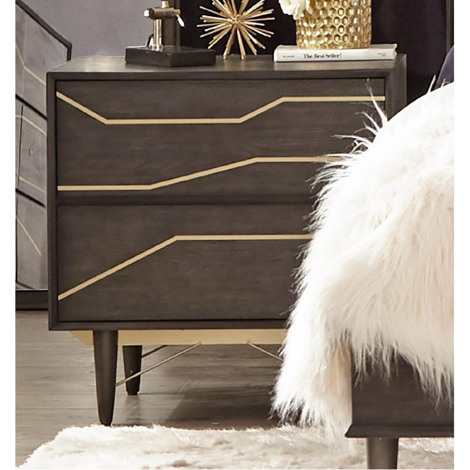 Modern Nightstand in Graphite Finish w/ Gold Color Inlay - image-4