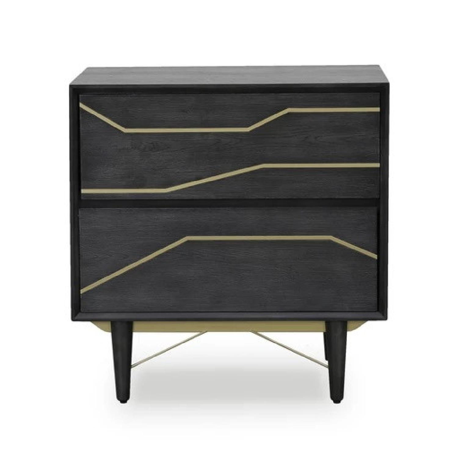 Modern Nightstand in Graphite Finish w/ Gold Color Inlay - image-0