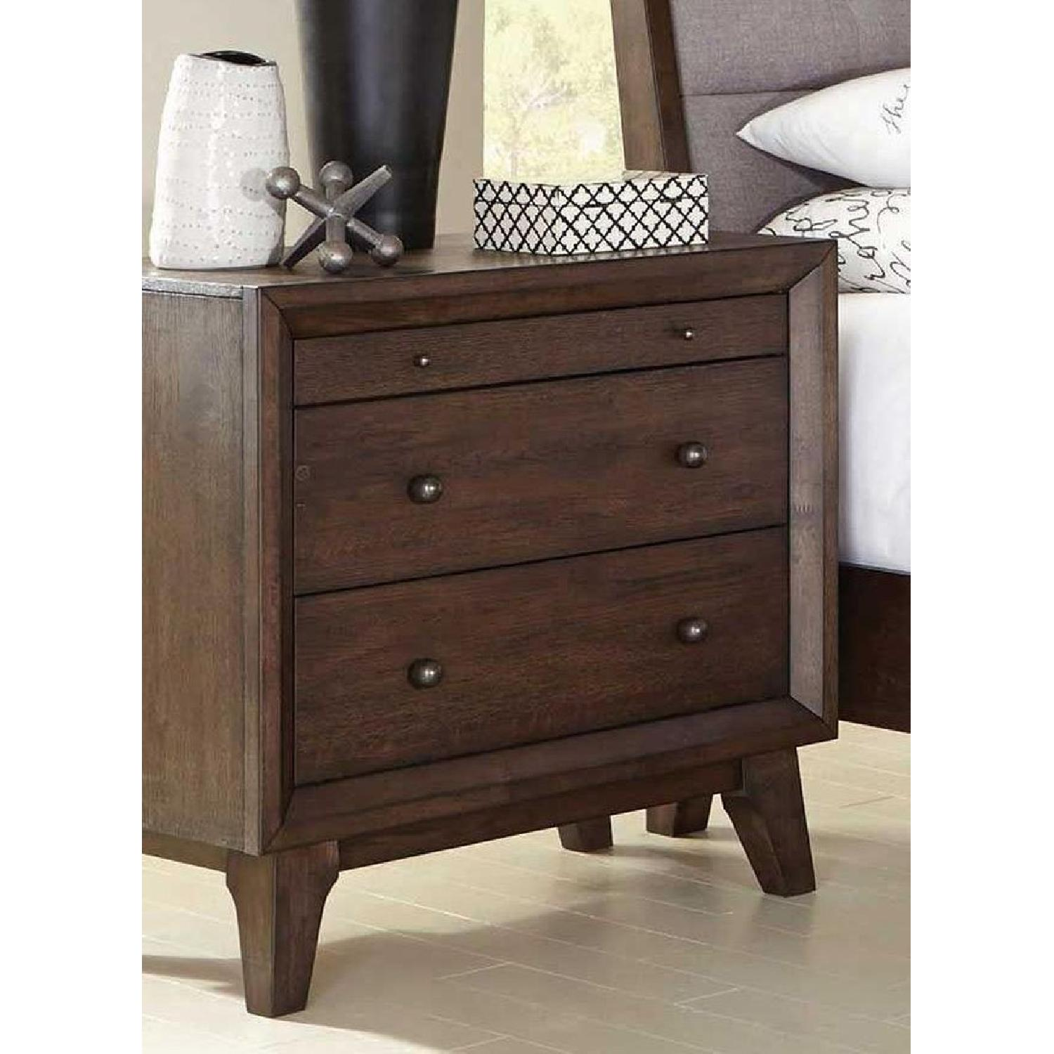 Modern Mid-Century Style Nightstand in Brown Finish - image-2