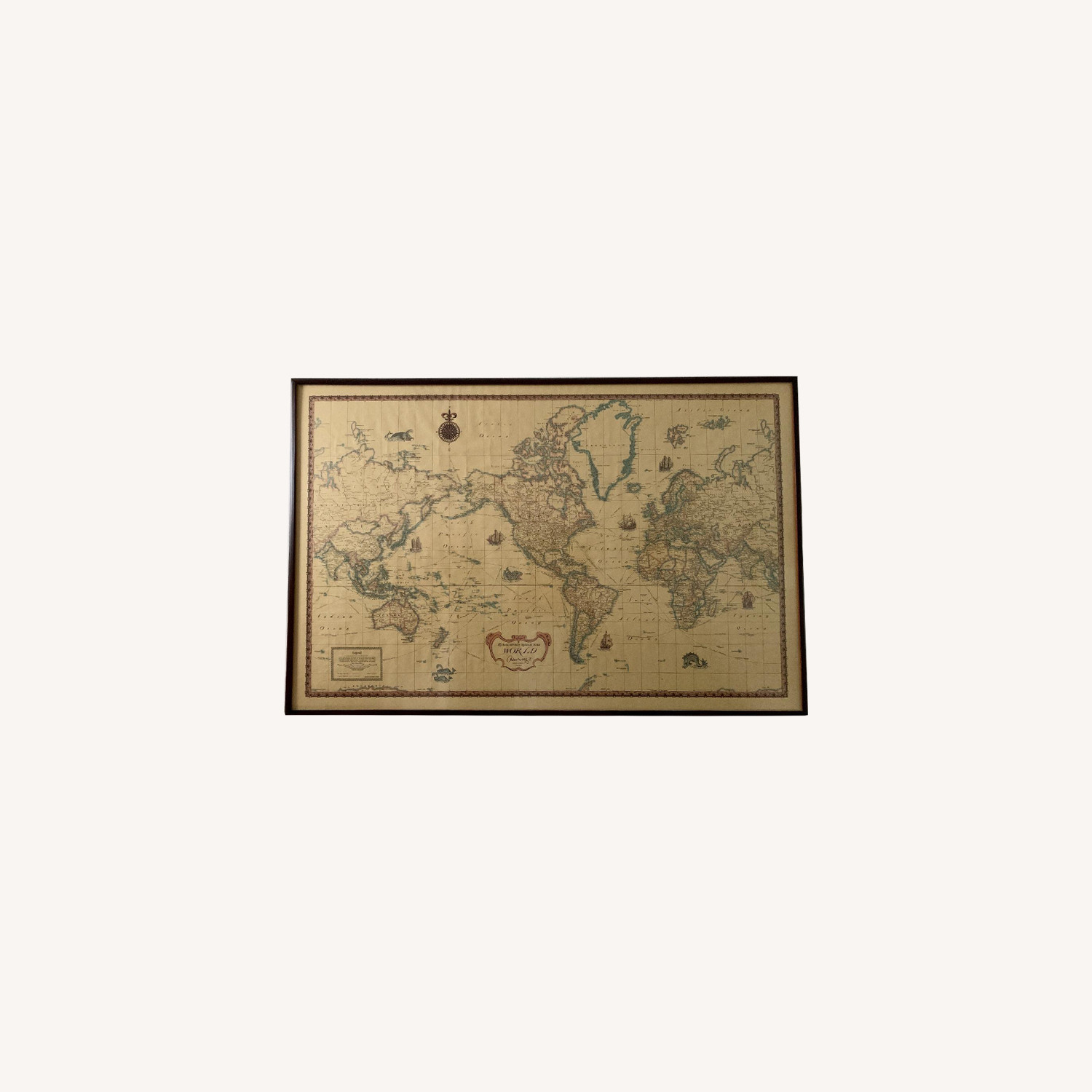 Framed Print of Antique World Map