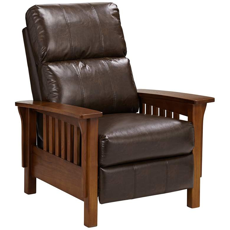 Raymour & Flanigan Leather Recliner w/ Wood Arms