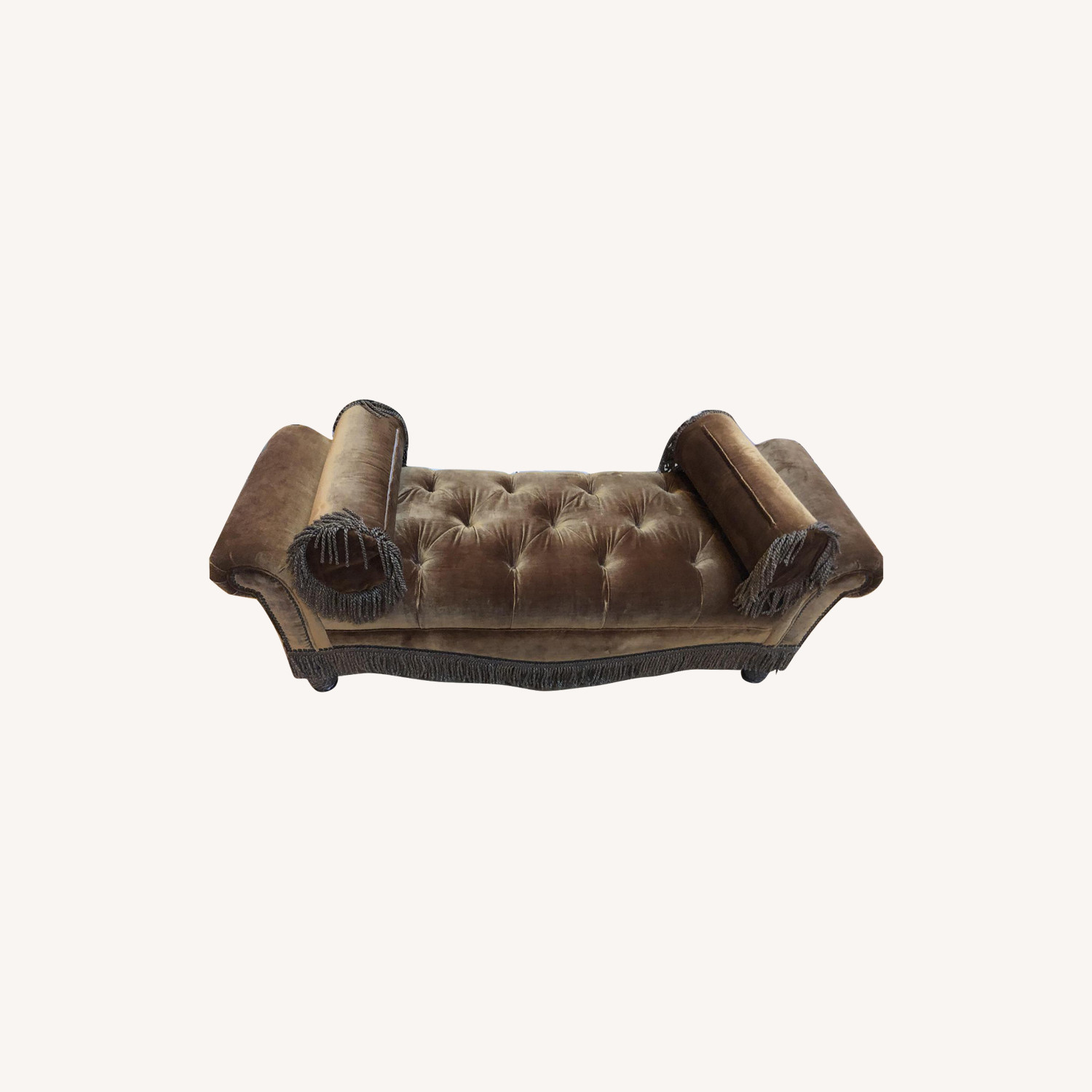 Brown Microsuede Tufted Bench
