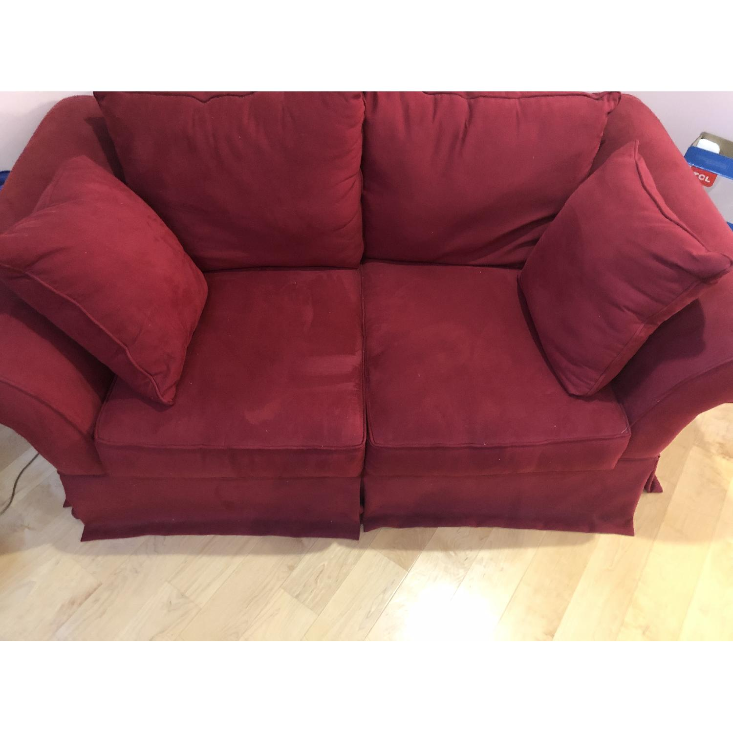 H.M. Richards Red Suede Loveseat - image-1