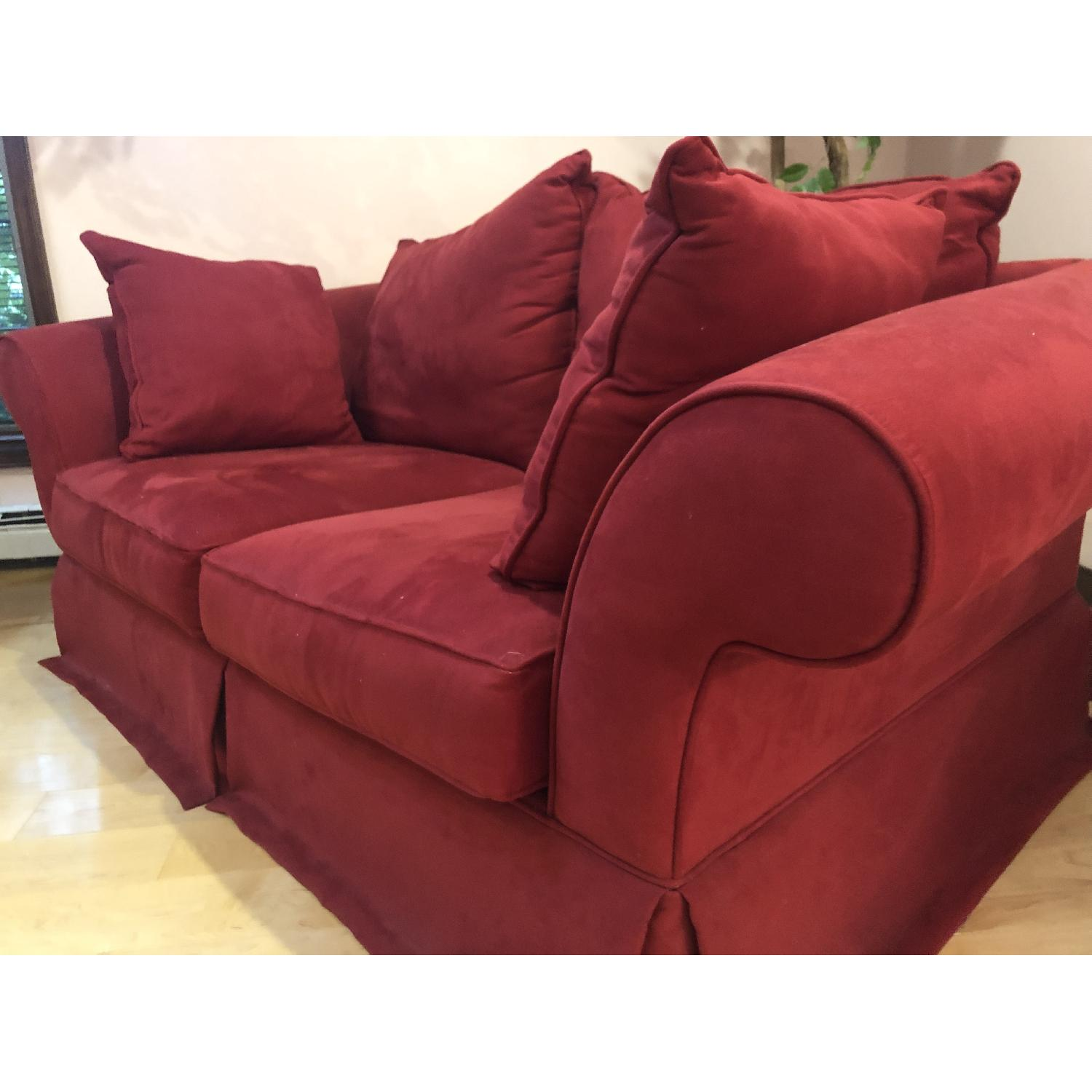 H.M. Richards Red Suede Loveseat - image-2