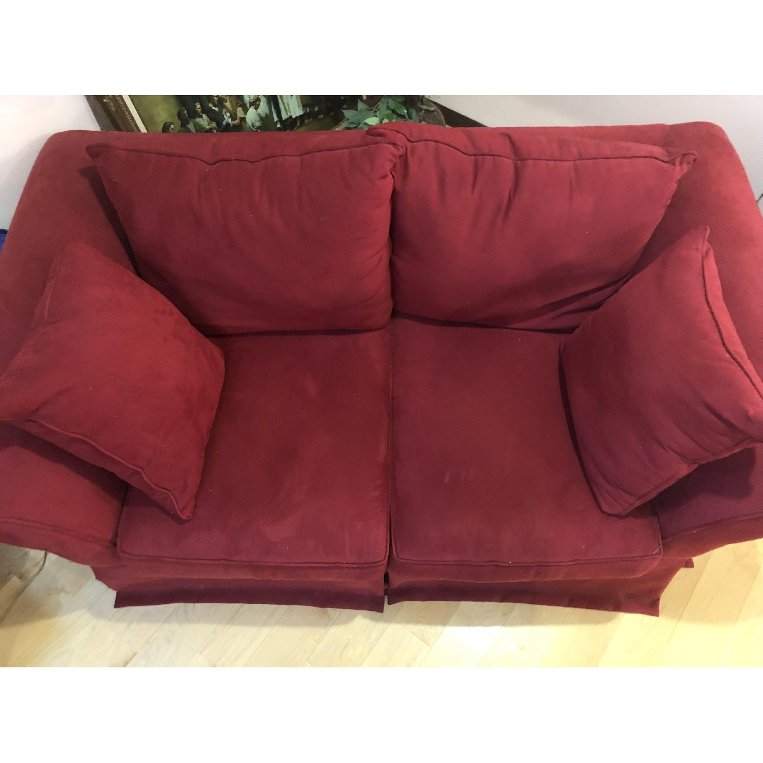 H.M. Richards Red Suede Loveseat - image-3