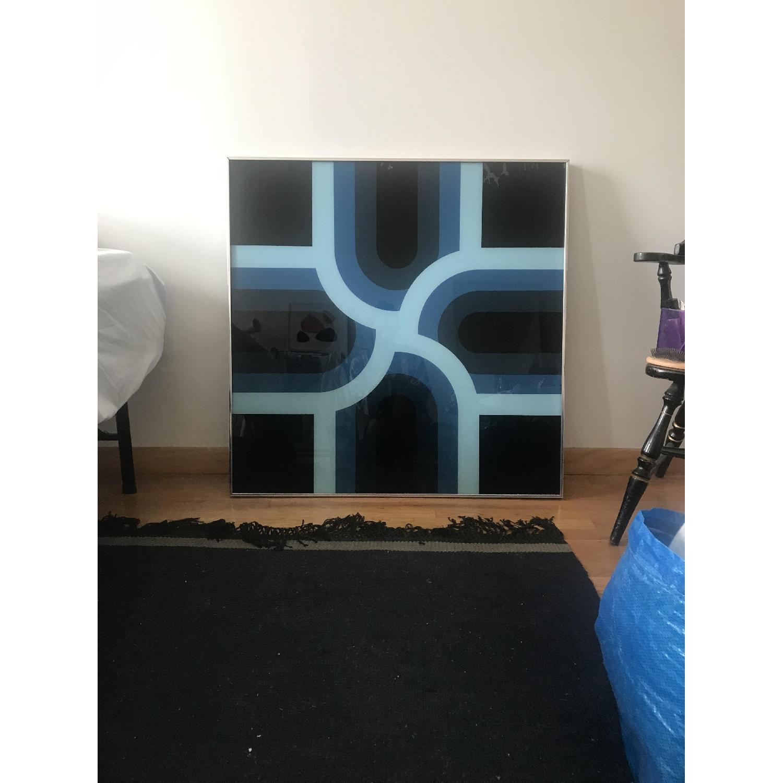 Large Mid-Century Geometric Design Painting - image-1